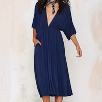 Spin Me Round Plunging Knit Dress - Navy