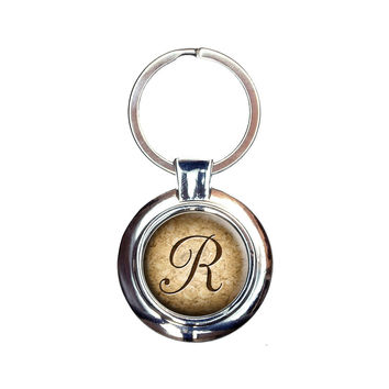 Letter R on Cork Design Keychain
