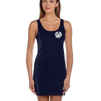 VINYL Tank Dress Monogram Women's Lightweight Racerback Tank Dress