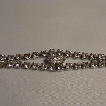 Vintage Weiss Rhinestone Bracelet Double Strand Silver Costume Jewelry Perfect for Bride Wedding or Prom