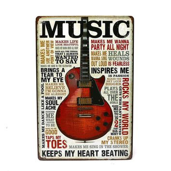 Dog Music  Iron Metal Poster Tin Sign Plate Wall Decoration Vintage Art Painting Family Rule Plaque