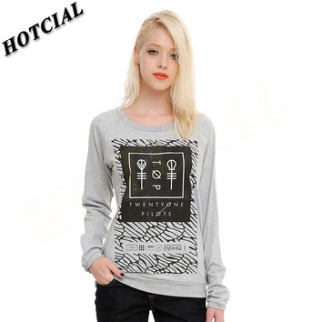 Women Casual Hoodies Sweatshirts New 2016 Twenty One Pilots Pattern Logo Print Grey Long Sleeve Cute Pullovers Female Tops