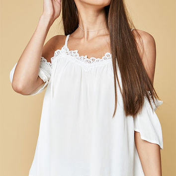 Lucca Couture Cold Shoulder Lace Top at PacSun.com