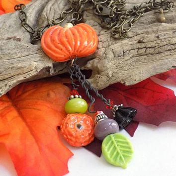 Halloween Necklace for Women, Pumpkin Necklace, Long Necklace with Pendant, Handcrafted Jewelry, Costume Jewelry Necklace, Holiday Jewelry