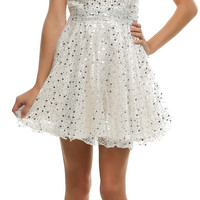 Ivory Seventh Heaven Sequined Homecoming Dress - Unique Vintage - Cocktail, Pinup, Holiday & Prom Dresses.