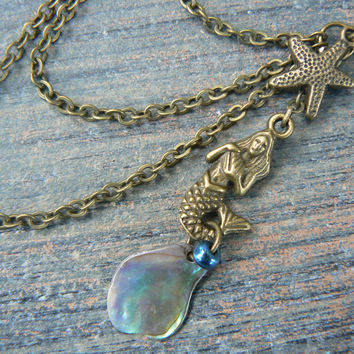 ONE BRASS mermaid abalone starfish ear cuff with chains mermaid siren abalone  in boho gypsy hippie hipster  beach  resort and fantasy style