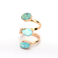Gold Plated 3 Pcs Turquoise Women Finger Rings Drusy Druzy Quartz Blue Crystal Stone Serpentine Ring For Gift