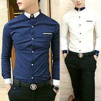 Two Tone Slim Fit Collared Shirt