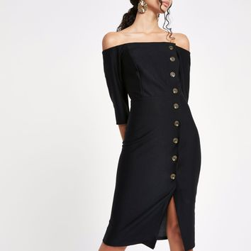 Black bardot button front bodycon midi dress - Bodycon Dresses - Dresses - women