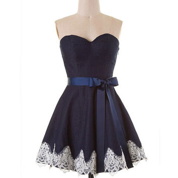 Strapless Denim Lace Dress