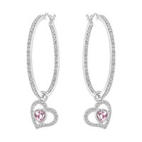 Swarovski Rose/Clear Crystal Pierced Hoop Earrings NET Rhodium #5101157