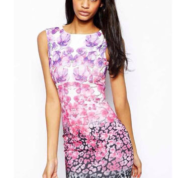 Pink Printed Sleeveless Mini Bodycon Dress