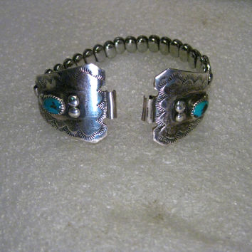 Vintage Southwestern Sterling Silver Turquoise Watch Tips, Stamped Design, with ladies stretch watch band