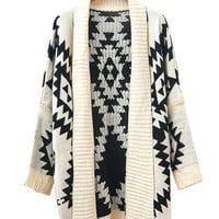 European Style Loose Fitting Geometric Figure Cardigan from styleonline