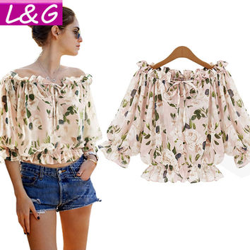 Off Shoulder Chiffon Blouse Women Boho Floral Print Short Shirts Summer Female Tunic Tops for Woman Clothing Blusas 40345
