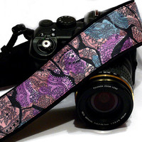 Floral Camera Strap, Black Purple Camera Strap, Nikon, Canon Camera Strap, Women Accessories
