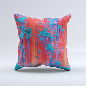 Bright Red Metal with Turquoise Rust  Ink-Fuzed Decorative Throw Pillow