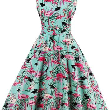 Atomic 1950's Flamingo Print Swing Dress