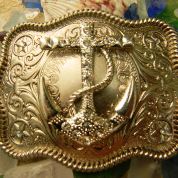 Rhinestone Anchor Belt Buckle,  Silver Western Mens Womens Engraved Ships Anchor Buckle, Nautical Belt Buckle, Silver Anchor Belt