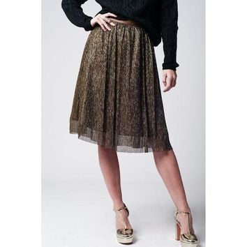 LMFON GOLD METALLIC PLEATED MIDI SKIRT