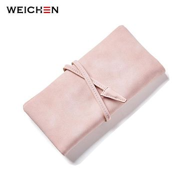 WEICHEN Women Drawstring Hasp Long Day Clutch Wallet Soft Faux Suede Leather Female Purse Ladies Card Coin Pocket Purse Carteras