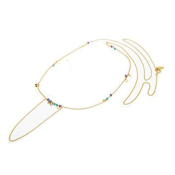 Bolo Necklace: Turquoise and Amethyst Stones in 925 Silver Gold Plated: 33""