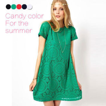 New Woman Bohemian Style Vestidos Casual Spring Summer Solid Lace Cotton Dress Plus Size Hot Sale