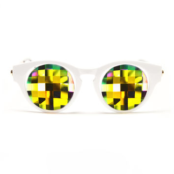 GloFX White Cat Eye Kaleidoscope Glasses – Rainbow Bug Eye