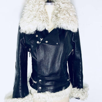 Balenciaga Nicolas Ghesquiere motorbike black leather shearling jacket x-rare runway vintage  Made in France new condition  Amazing!