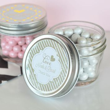 Personalized Metallic Foil Small 4 oz Mason Jars - Wedding