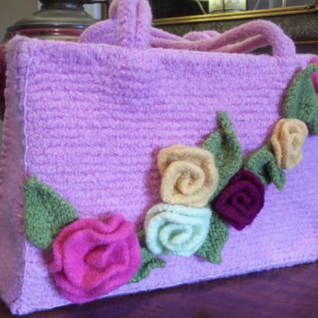 Feminine Dusty Rose Felted Wool Handbag Box Bag Purse with Trailing Bright Flower Accents