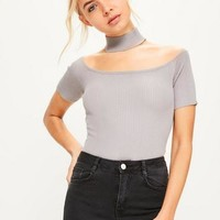 Missguided - Grey Choker Ribbed Knitted Bodysuit