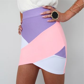 PURPLE PINK CROSSOVER COLOUR BLOCKED BANDAGE WRAP TUBE DISCO SKIRT 6 8 10 12