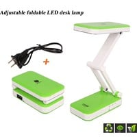 Liying New Designed Fashional Colourful Portable Foldable Rechargeable Eye Protective 24 Leds Charging Table Desk Lamp Light with 800mah Battery - for Reading, Studying, Working, Camping, etc. (green)