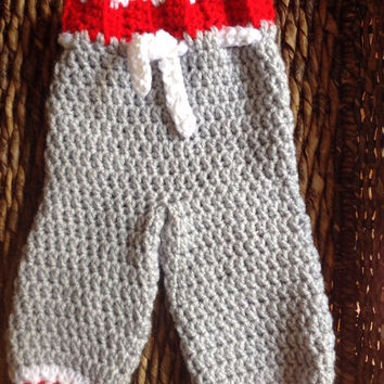 Ohio State OSU Theme Crochet Newborn Baby Pants