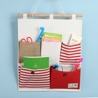Stripes Cotton Linen Wall Mounting Big Size Storage Bags [6377499204]