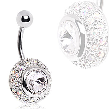 316L Surgical Steel Large Bezel Set CZ Navel Ring