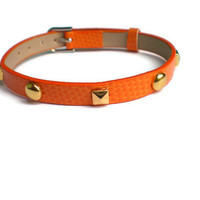 Studded Orange Leather Bracelet - P.. on Luulla