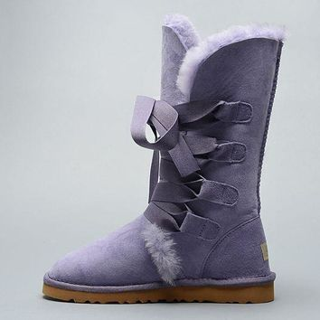 ESBON UGG 1005818 Tall Lace-Up Women Fashion Casual Wool Winter Snow Boots Purple
