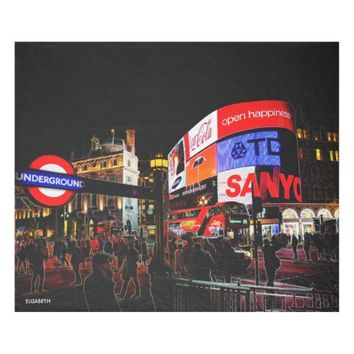 Fantasy Glowing Piccadilly In London At Night Fleece Blanket