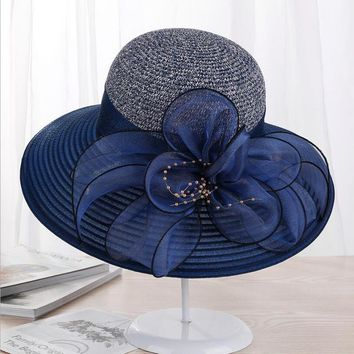 Summer Ladies Hat Leisure Beach Women Sun Hat Elegant Wide Brim Hat Silk Flower Bucket Hat Casual Cap Female Fedora