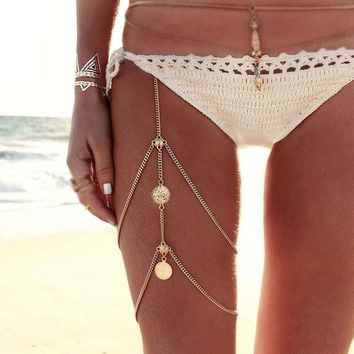 2017 New Celebrity sexy fashion women elastic layer 2 Tier hip leg necklace chain gold jewelry harnessed beach bikini body