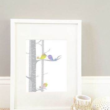 Watercolor Bird Print, Wall Art Print. 8x10 print