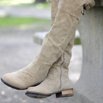 Riding High Suede Boots: Grey | Hope's