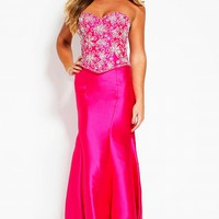 Fuchsia long fitted strapless embellished bodice evening dress.