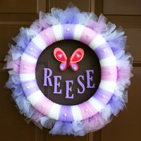 Baby Wreath Monogram Tulle Child Name Room Baby Shower Hospital