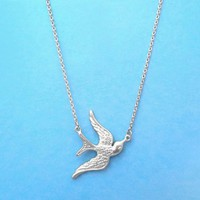 Flying, Bird, Gold, Silver, Necklace