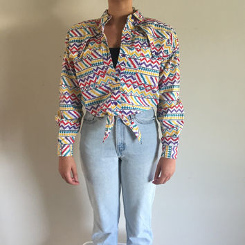 Vintage 90s Cropped Front Tie Button Up Rodeo Geometric Shoulder Padded Top Women's Size Medium