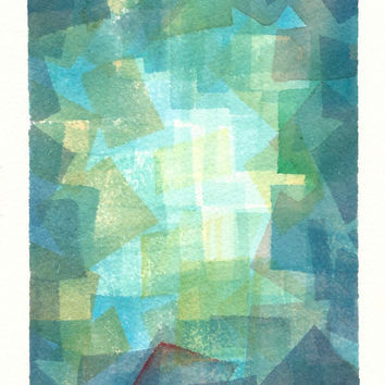 Blue and Green Abstract Painting - Cubist Watercolour - Geometric Art - Squares