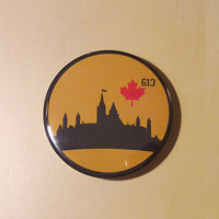 City of Ottawa Button - Parliament Hill Silhouette 613